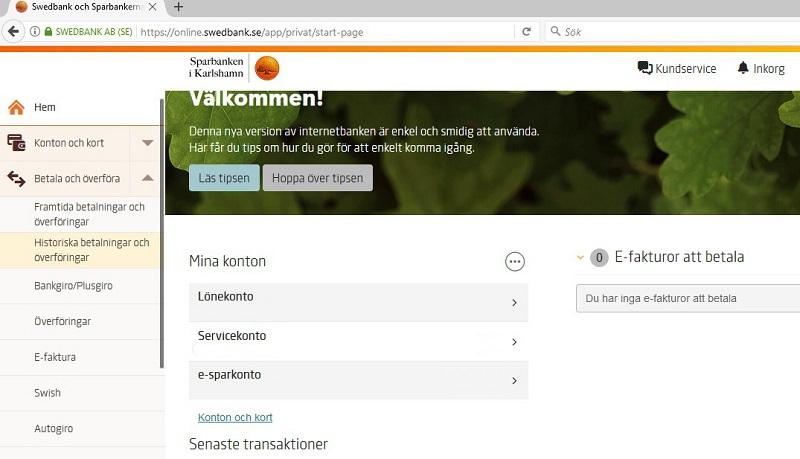 Swedbank and new website