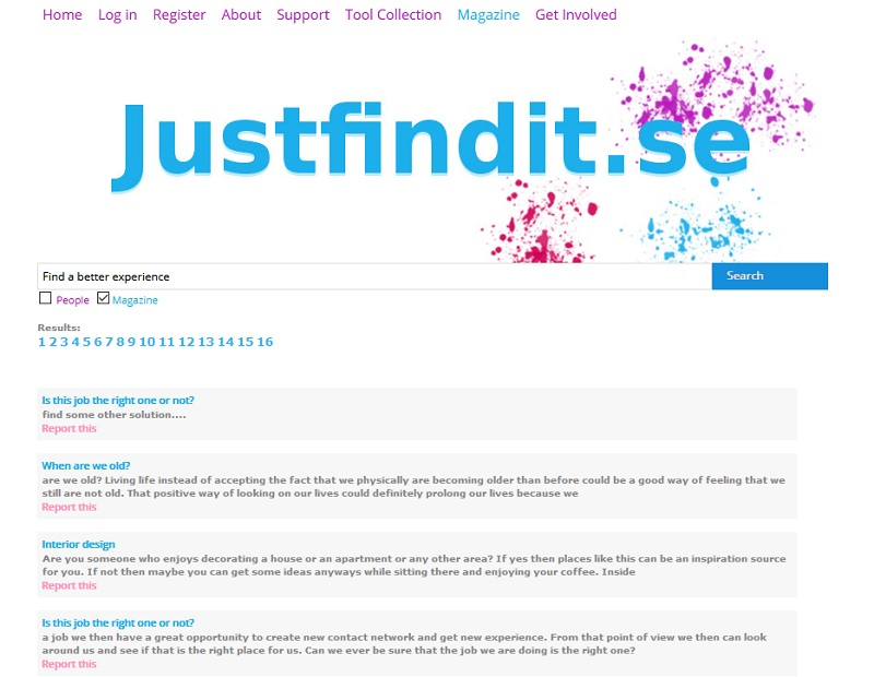 Search power in online searches -justfindit.se