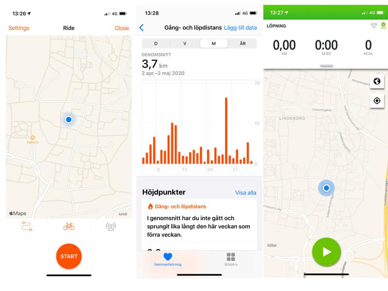 Strava, iPhone Health app, Endomondo and Google maps